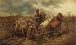Manner of Adolf Schreyer (German, 1828-1899)    Horseman and Cart Fording a Stream.