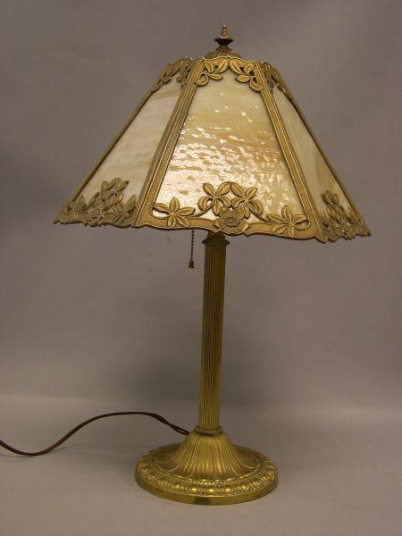 E. M. Co. Hexagonal Caramel Slag Glass Panel and Gilt-metal Table Lamp.