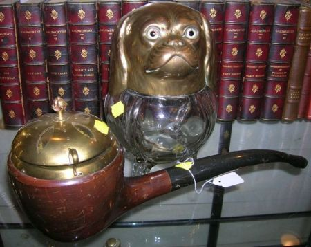 British Brass-mounted Molded Colorless Glass King Charles Spaniel Tobacco Jar
