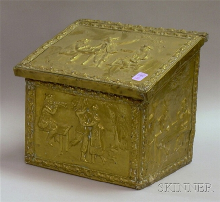 Small Repousse Brass Kindling Box