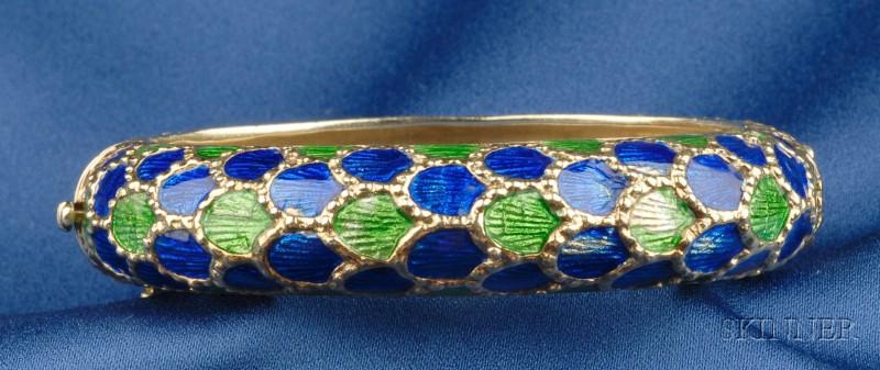 14kt Gold and Enamel Bracelet