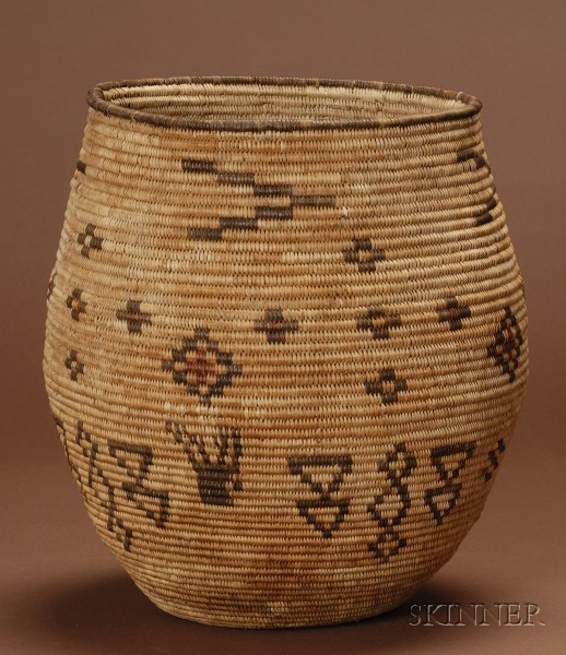 Southwest Polychrome Coiled Basketry Olla