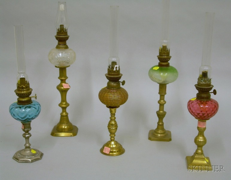 Five Glass Peg Lamps on Candlestick Bases