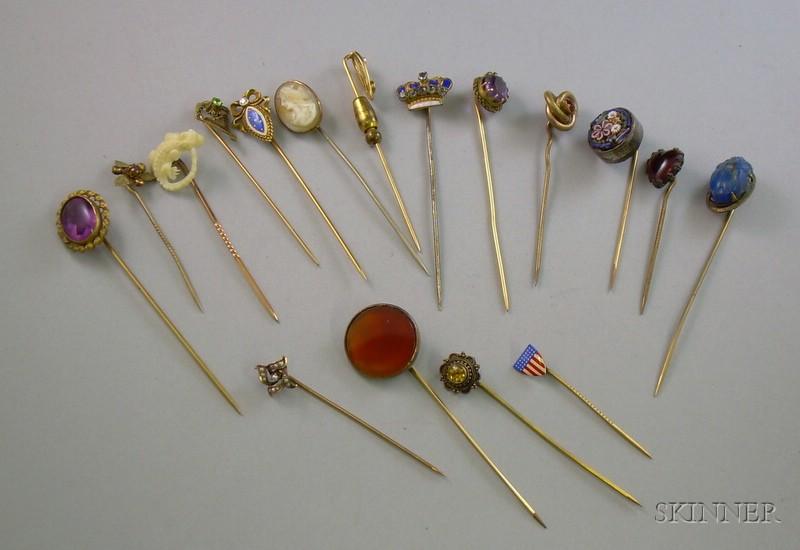 Seventeen Assorted Stickpins.