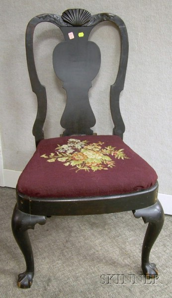 Queen Anne Needlepoint Upholstered Shell-carved Mahogany Side Chair with Claw and Ball Feet.