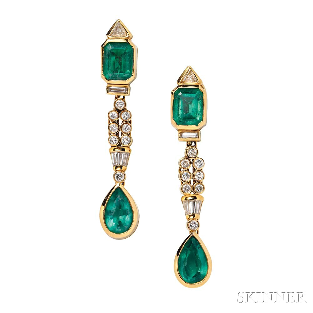 18kt Gold, Diamond, and Emerald Doublet Day/Night Earrings