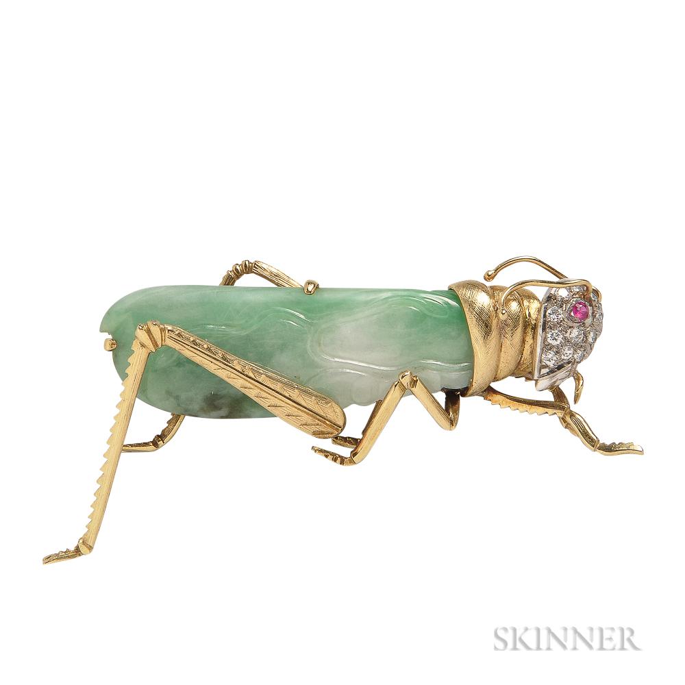 18kt Gold and Jade Grasshopper Brooch