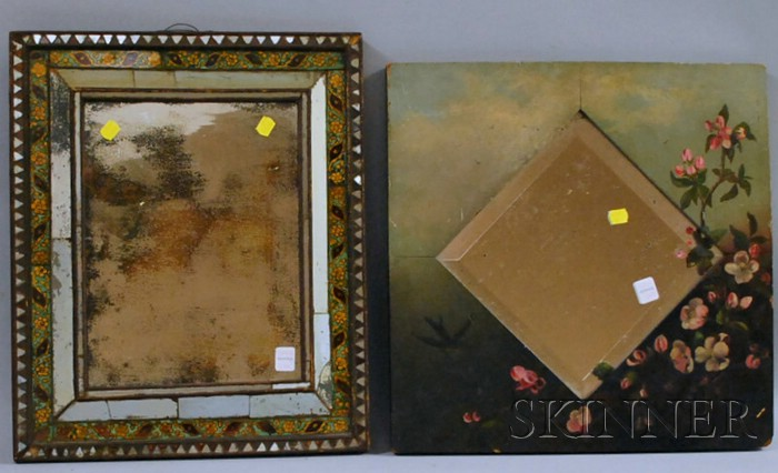Late Victorian Folk Painted Apple Blossom and Landscape-decorated Wood Framed Beveled Glass Mirror and a Reverse-painted and Mirrored G