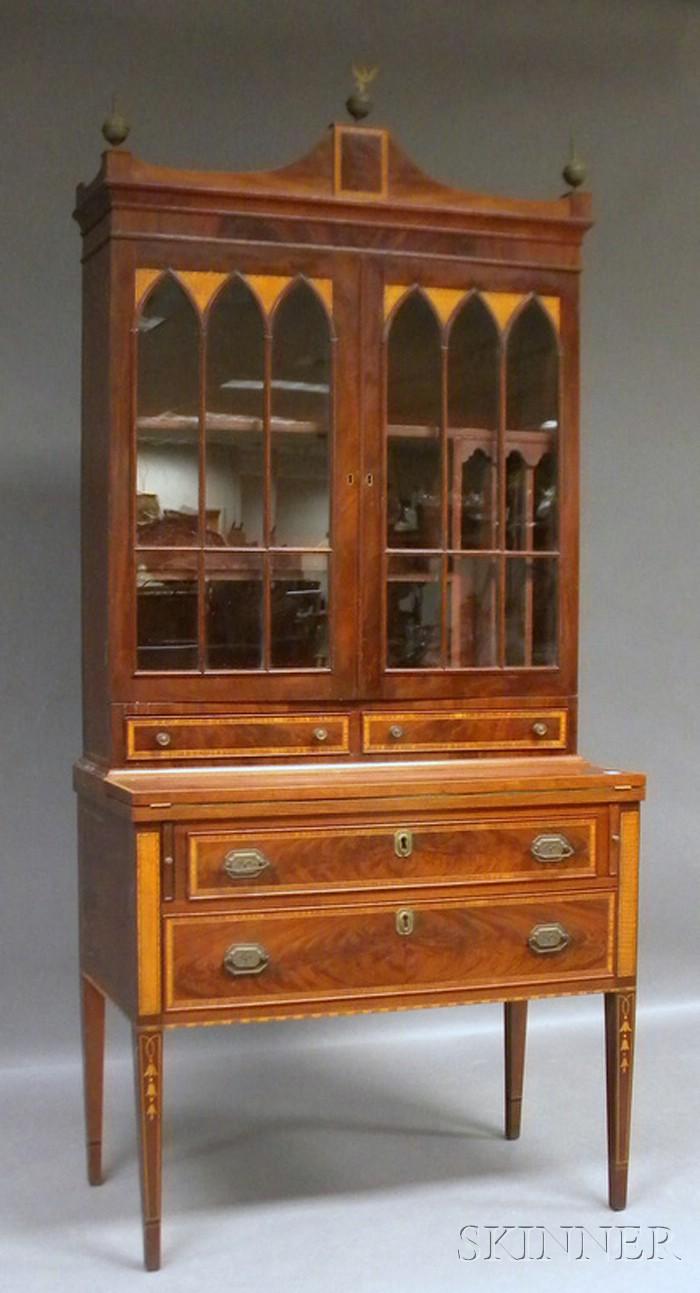Federal-style Glazed Inlaid Mahogany Writing Desk/Bookcase