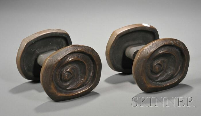 Pair of Studio Cast Bronze Door Handles