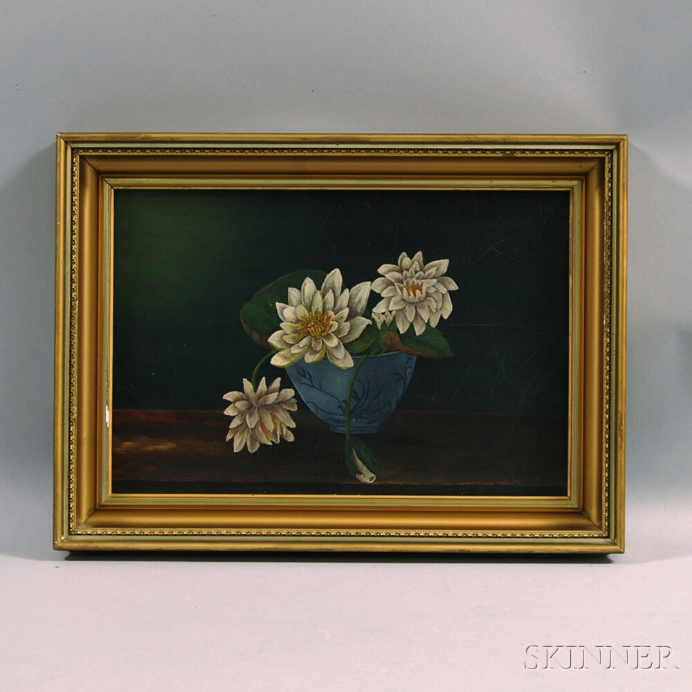 American School, 19th Century      Still Life with Bowl of Water Lilies.