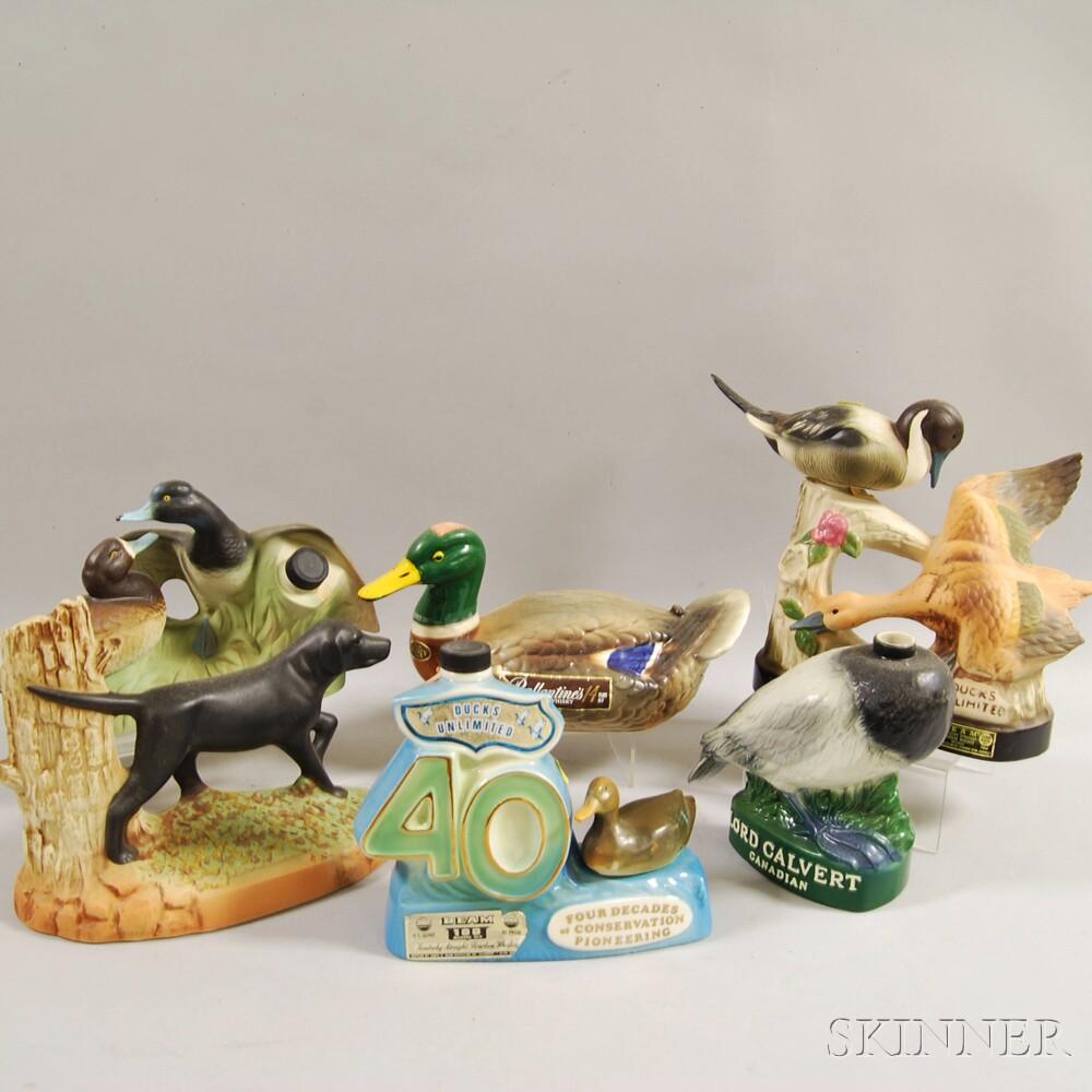 Six Ceramic Figural Decanters
