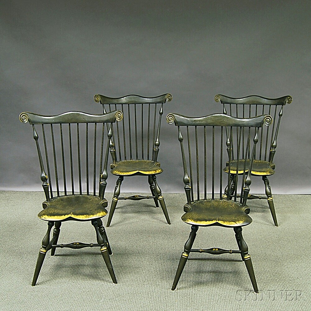 Set of Four Reproduction Fan-back Windsor Side Chairs