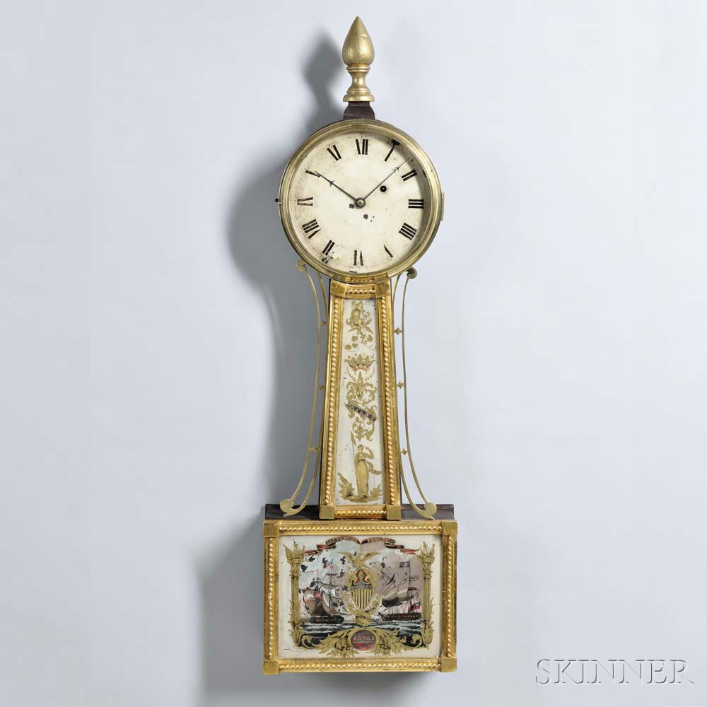 "Massachusetts Gilt-framed Patent Timepiece or ""Banjo"" Clock"
