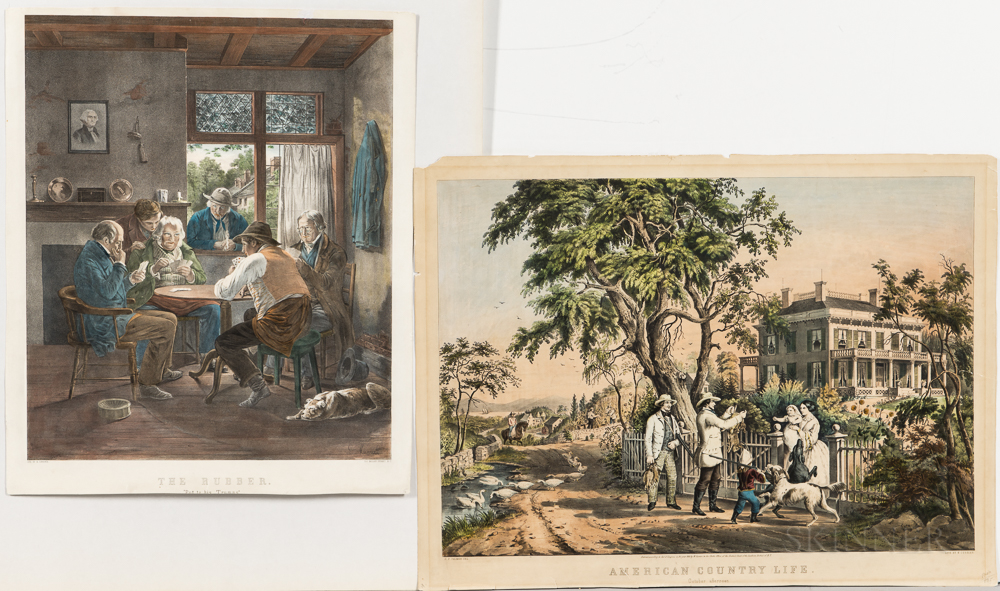 Nathaniel Currier Hand-colored Lithographs The Rubber   and American Country Life