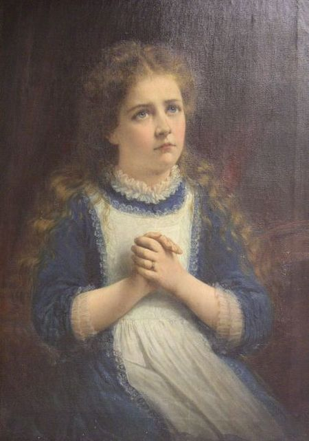 Framed Oil Portrait of a Young Girl in Blue.