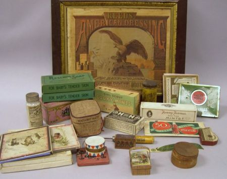 Group of Lithographed Retail Boxes, Containers, and a Framed Advertisement.