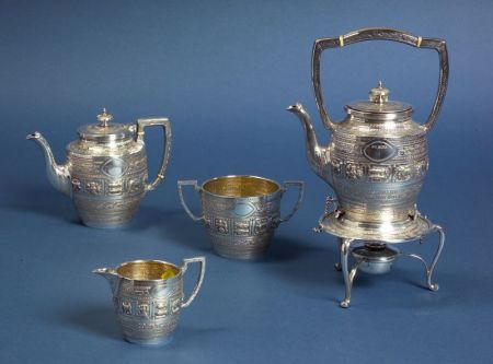 Early George V Silver Four Piece Indian-style Repousse Tea Set