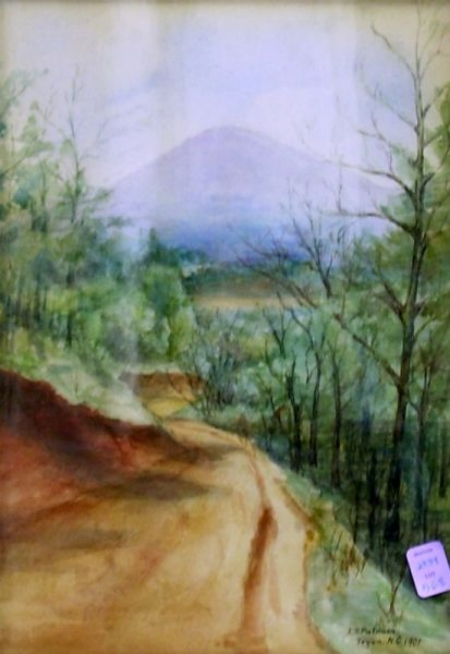 Framed Watercolor of Woodland Interior