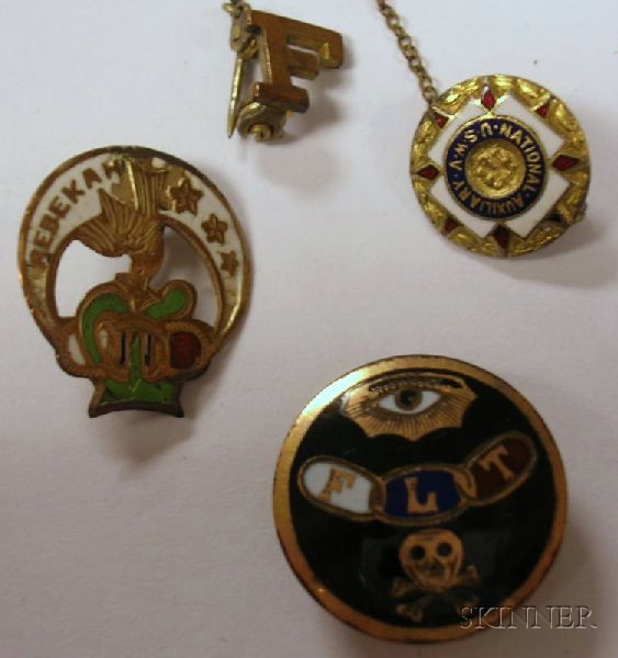 Group of Fraternal and United Spanish War Veterans Medals and Other Jewelry.