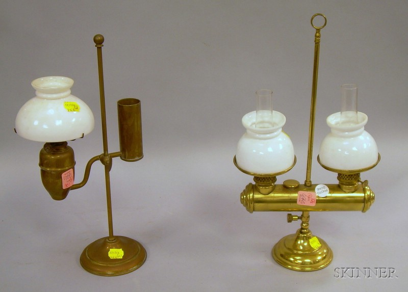 Two Small Brass and Glass Student Lamps