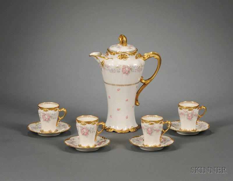 Nine-piece J. Pouyat Limoges Gilt and Transfer Floral Decorated Porcelain Chocolate   Set