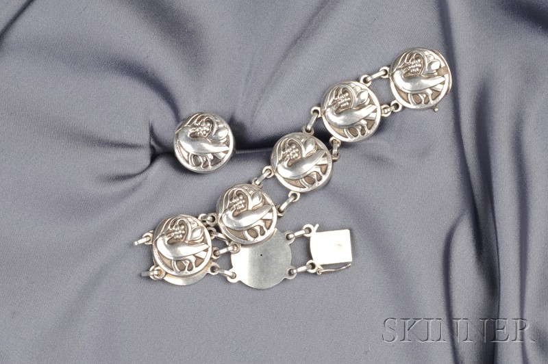 Sterling Silver Bracelet and Ring, Georg Jensen