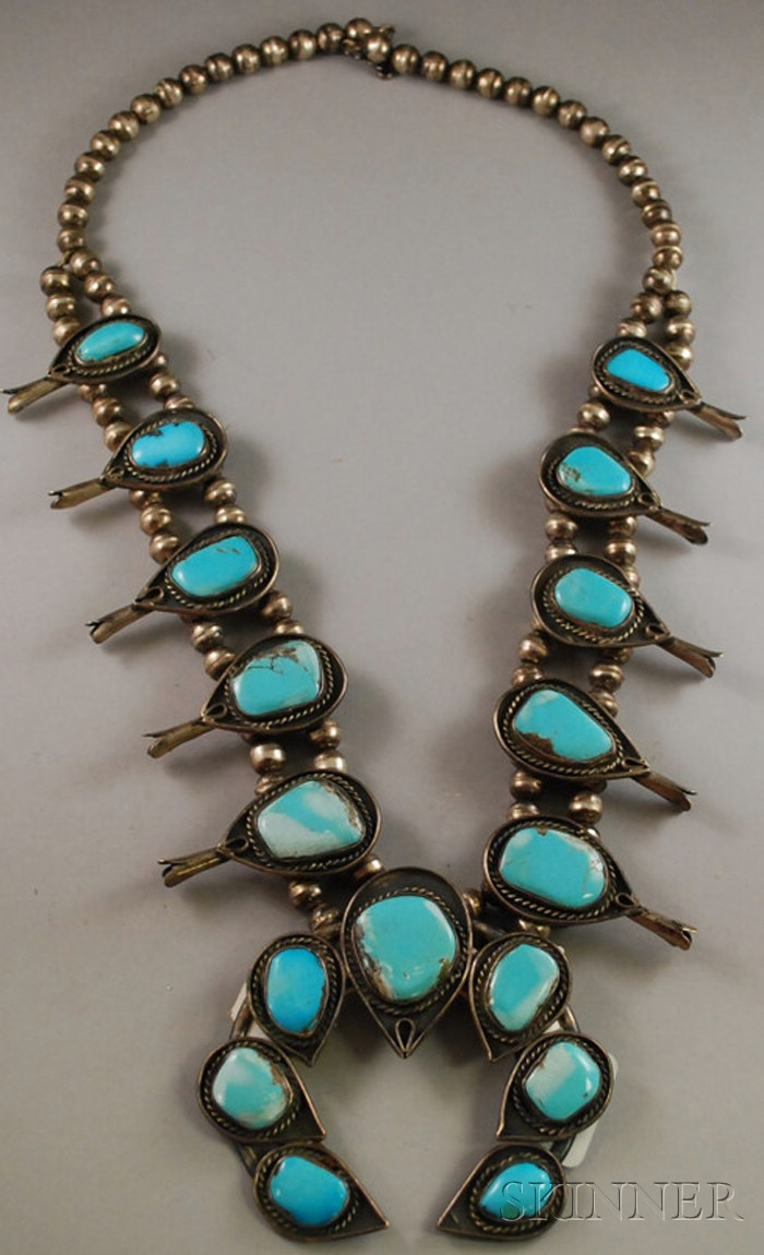 Native American Southwest Zuni Silver and Turquoise Squash Blossom Necklace