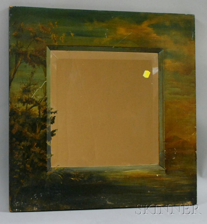 Late Victorian Folk Painted Landscape-decorated Wood-framed Beveled Glass Mirror