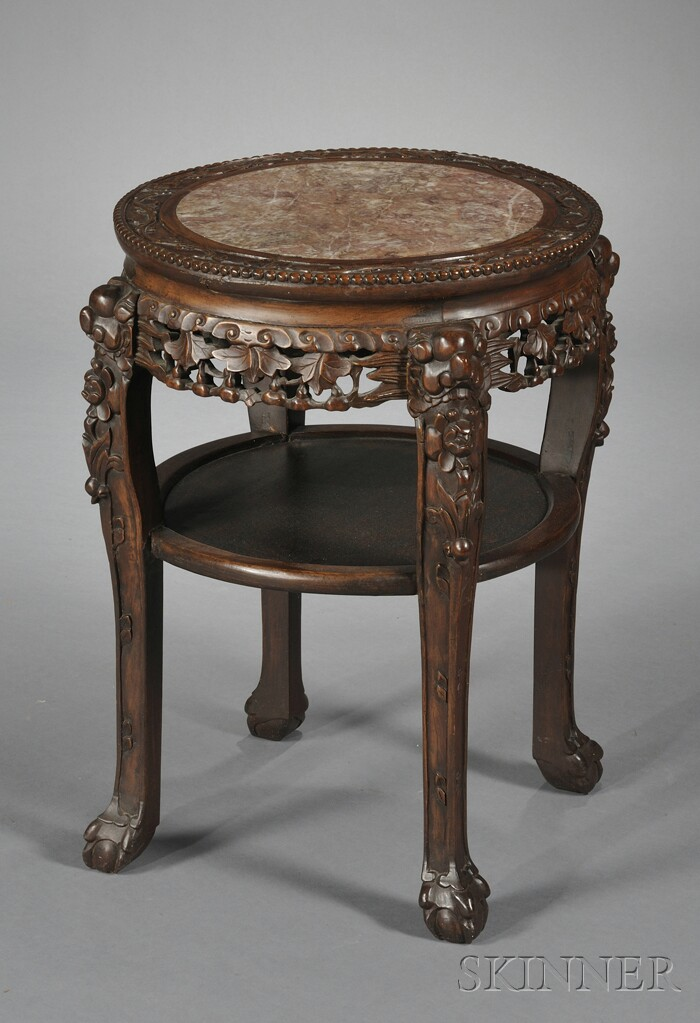 Chinese Export Round Carved Wood Marble-top Table
