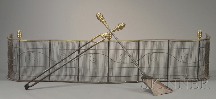Brass and Wirework Serpentine Fire Fender and Two Fireplace Tools