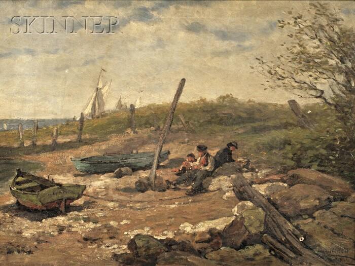 Hugh Newell (American, 1830-1915)      Fishermen Resting on the Shore