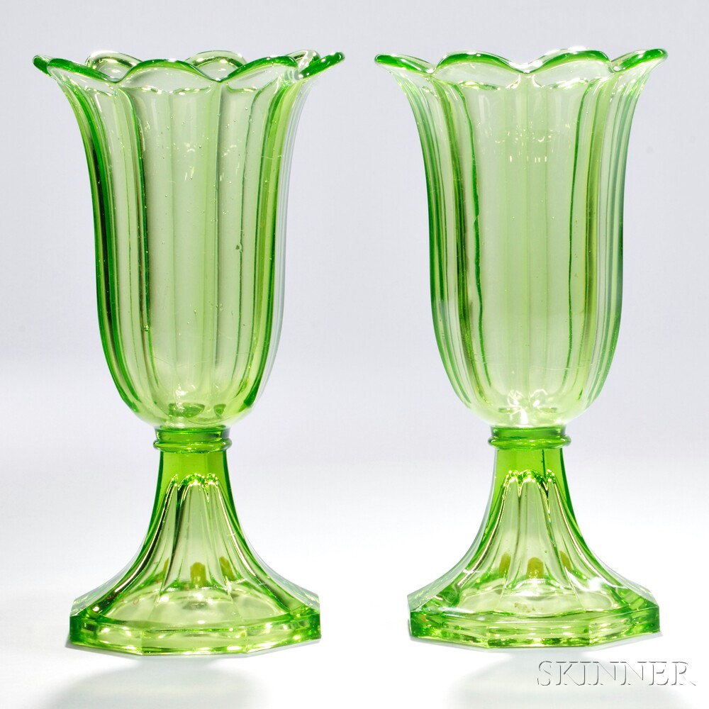 Pair of Light Green Pressed Glass Tulip Vases
