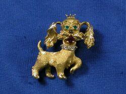 Gem-Set 14kt Gold Brooch