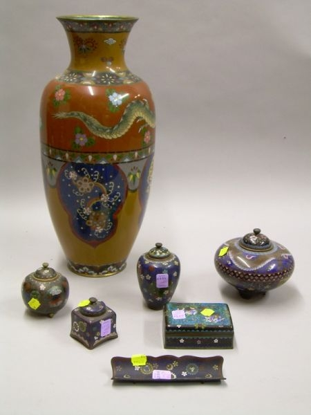 Seven Mostly Japanese Cloisonne Articles