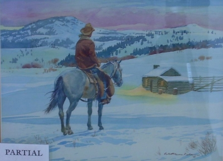 Lot of Two Framed Western Scenes Watercolors