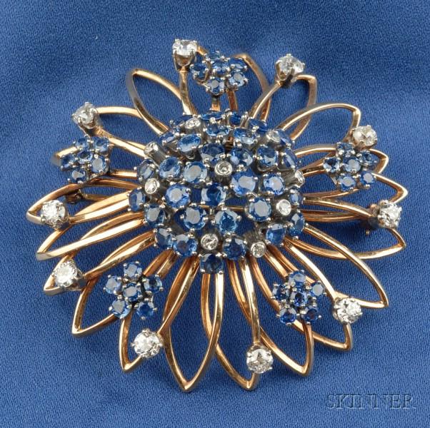 14kt Gold, Sapphire and Diamond Flower Brooch