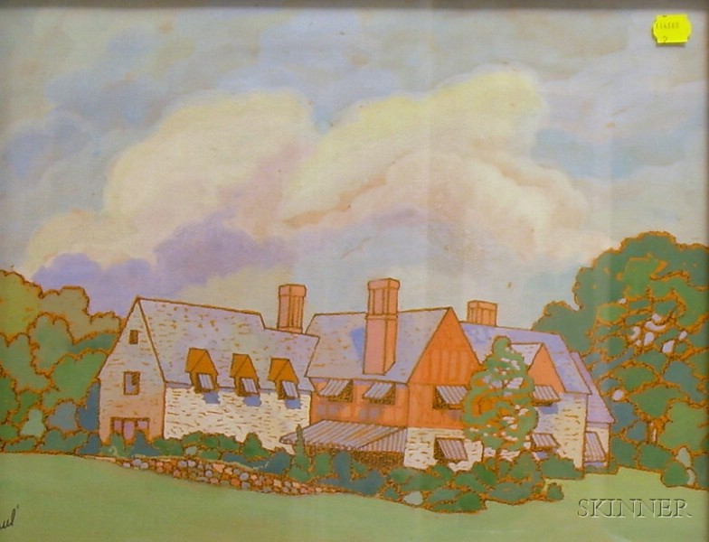 Framed Gouache on Paper House in Wynnewood   by Charles