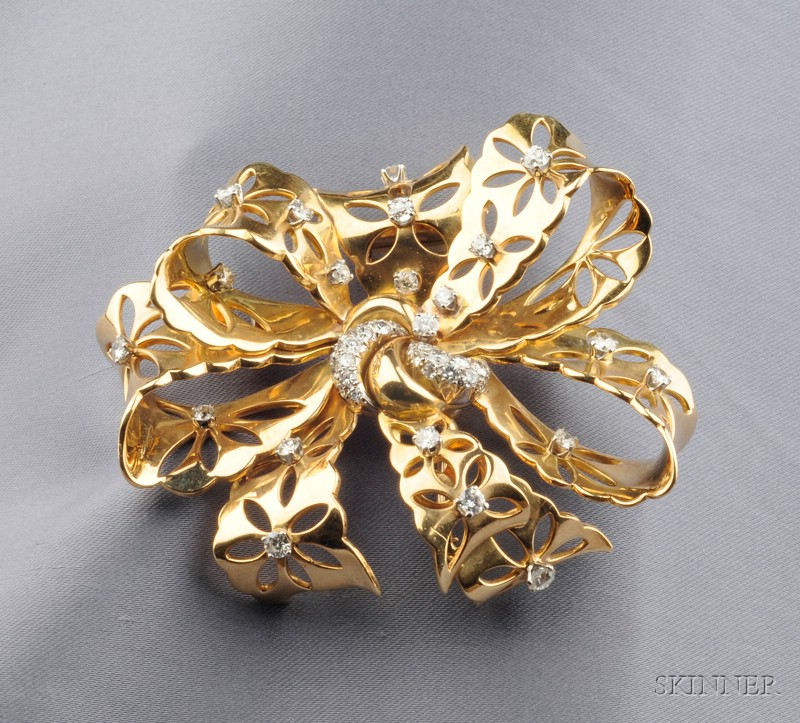 """18kt Gold, Platinum, and Diamond """"Lace"""" Clip/Brooch, Van Cleef & Arpels, New York"""