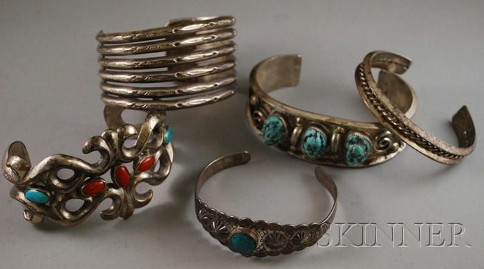 Five Southwest Silver Bracelets
