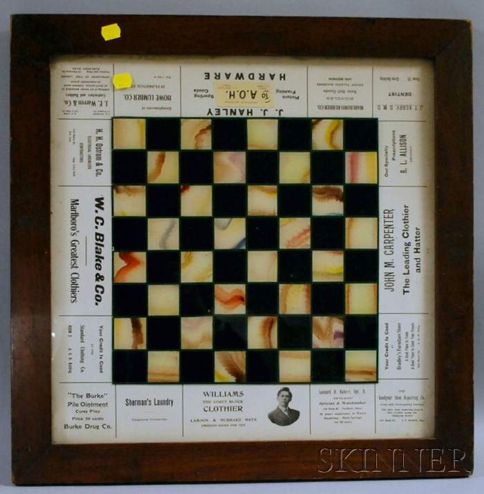 Wood and Marlboro, Massachusetts, Printed Advertising Framed Reverse-painted Glass   Checkers Game Board