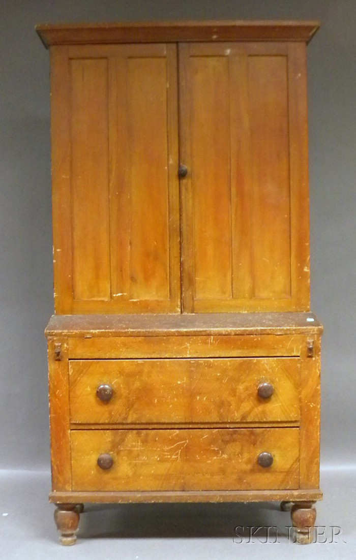 Country Empire Grain Painted Pine Writing Desk/Bookcase