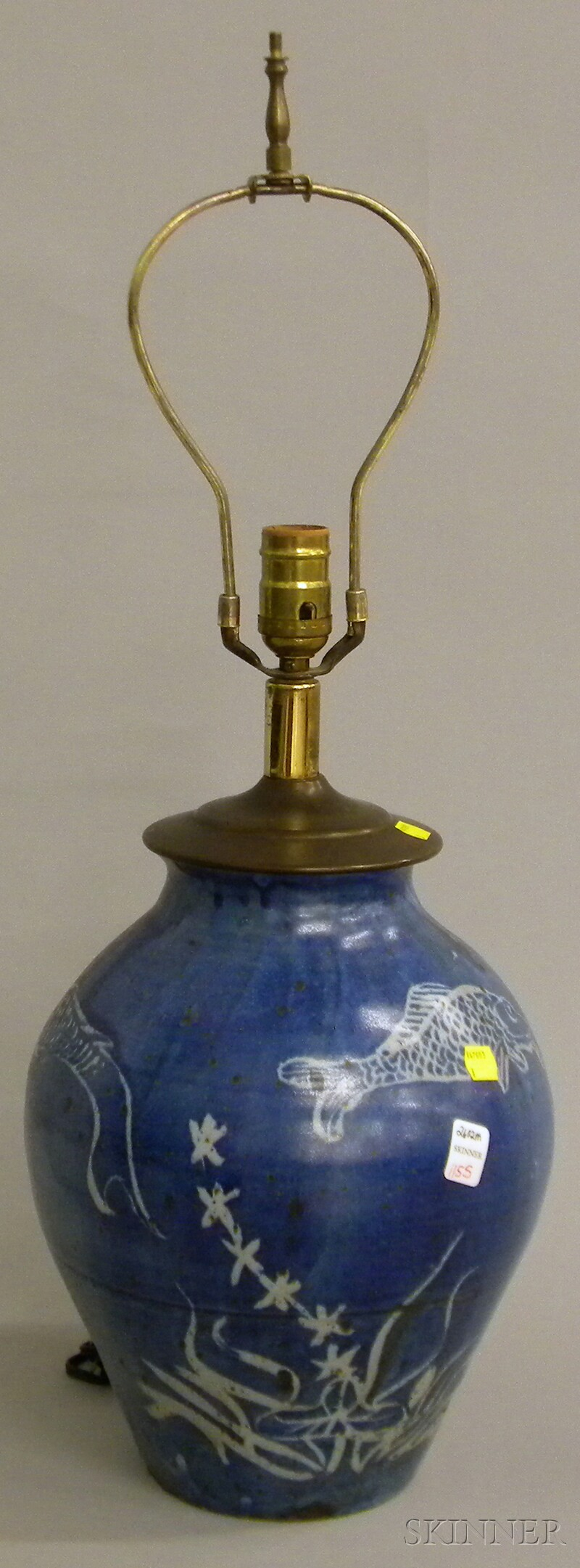 Blue and White-decorated Stoneware Table Lamp Base.