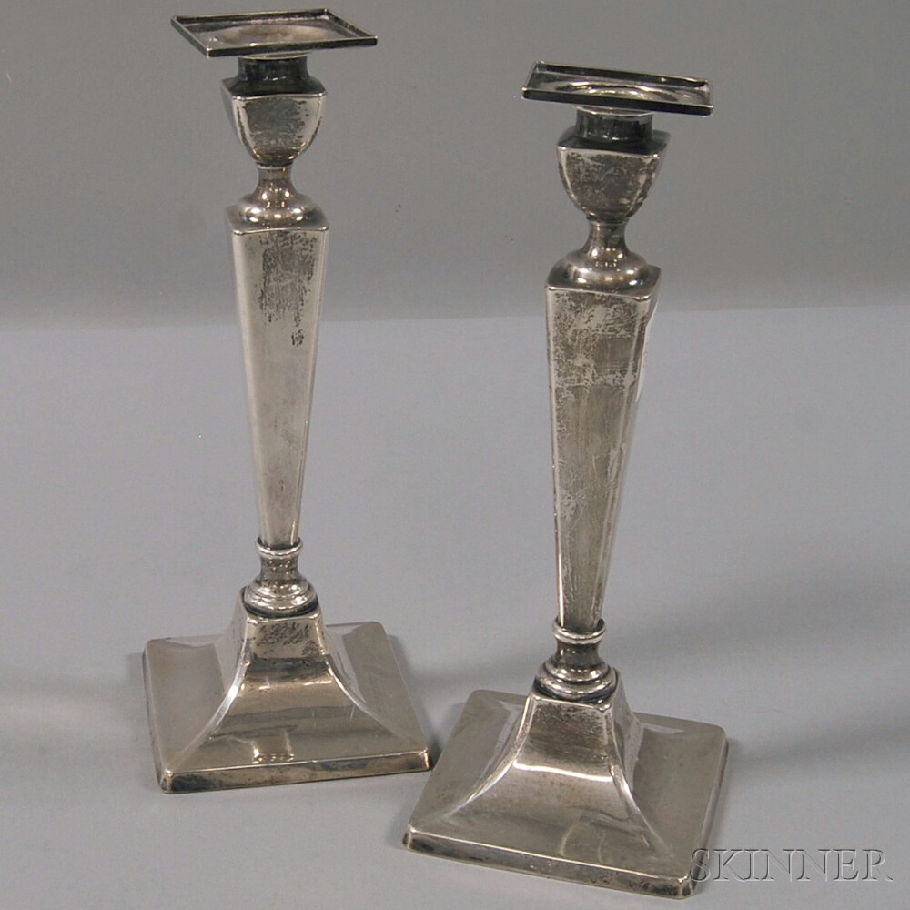 Pair of Matthews Co. Weighted Square-based Sterling Silver Candlesticks