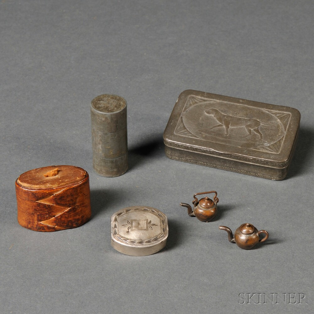 """Four Small Boxes and Two """"ONE CENT"""" Miniature Copper Teapots"""
