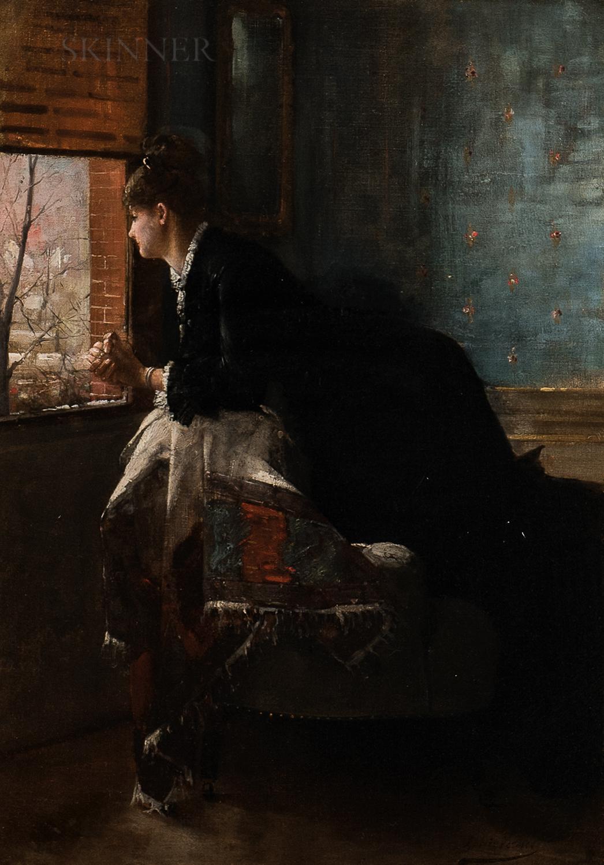Louis-Charles Verwée (Belgian, 1832-1882)      Woman Gazing Out a Window