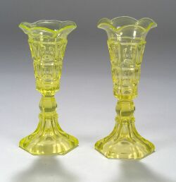 Two Canary Yellow Pressed Three-Printie Block Pattern Vases
