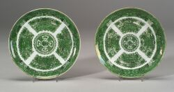 Two Green Fitzhugh Pattern Chinese Export Porcelain Plates