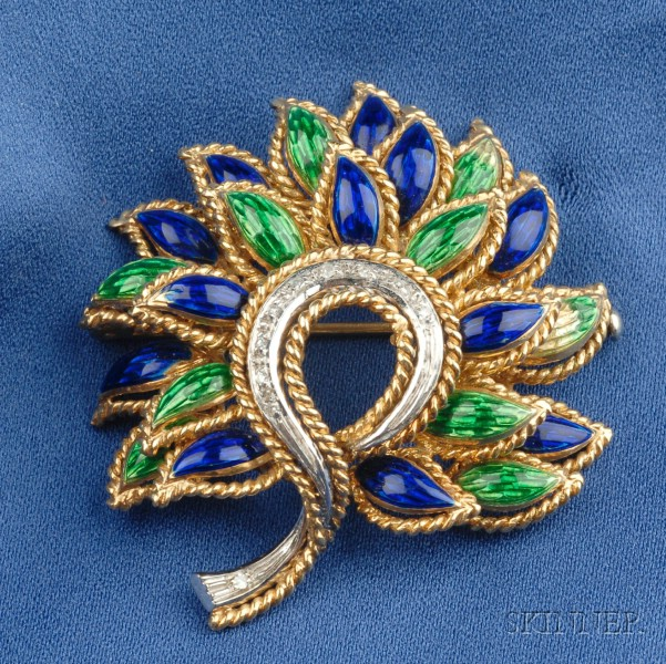 18kt Gold, Enamel and Diamond Flower Brooch