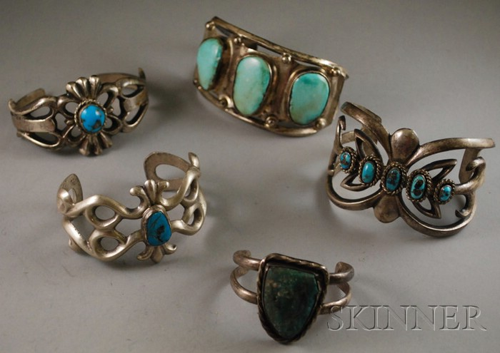 Five Southwestern Silver and Turquoise Bracelets.